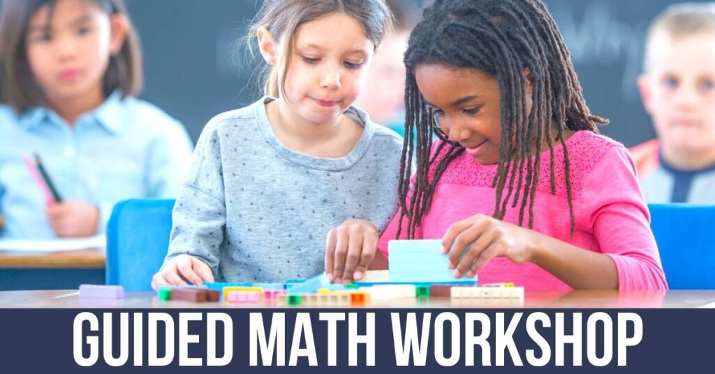 two 2nd grade girls working together at a guided math workshop math station