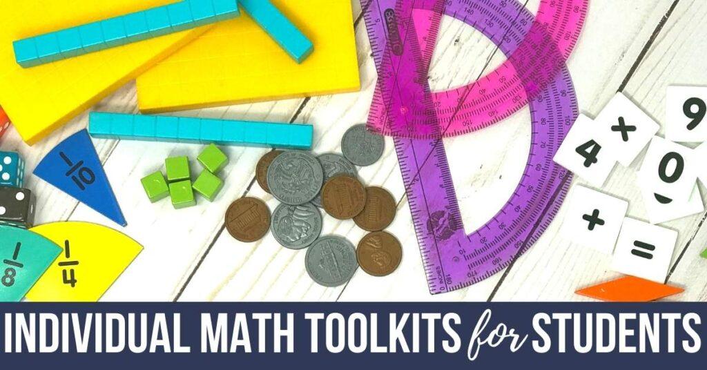 math manipulatives for an individual student tool kit