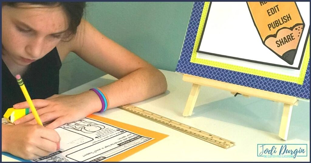 a second grade student practicing paragraph writing and sentence structure on a worksheet