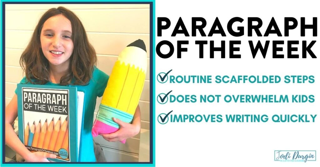 a 3rd grader holding a pencil and a paragraph of the week binder of writing activities