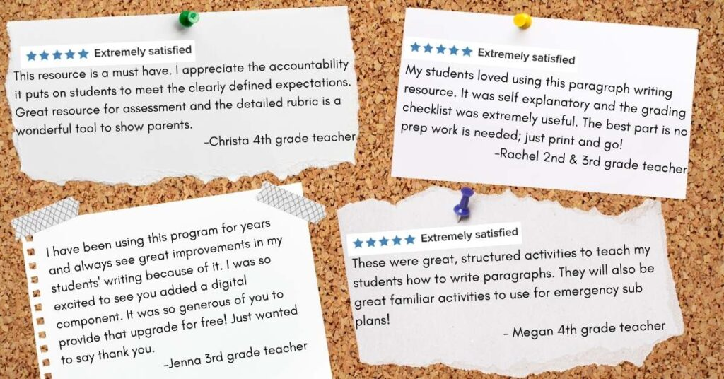 reviews for teaching paragraph writing activities on a bulletin board