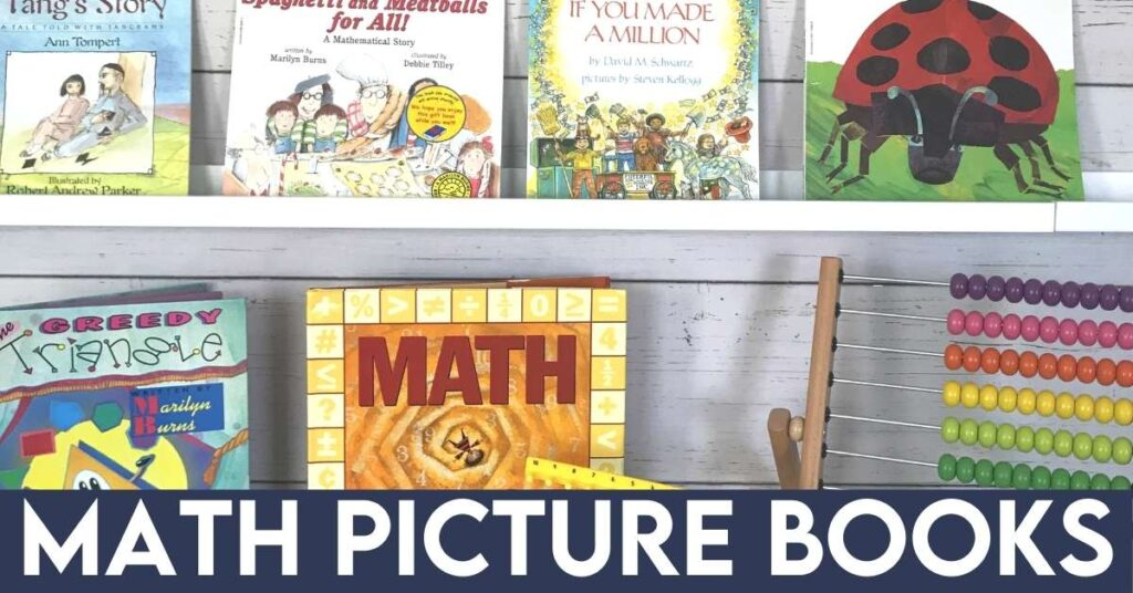 math picture books and an abacus displayed on a shelf