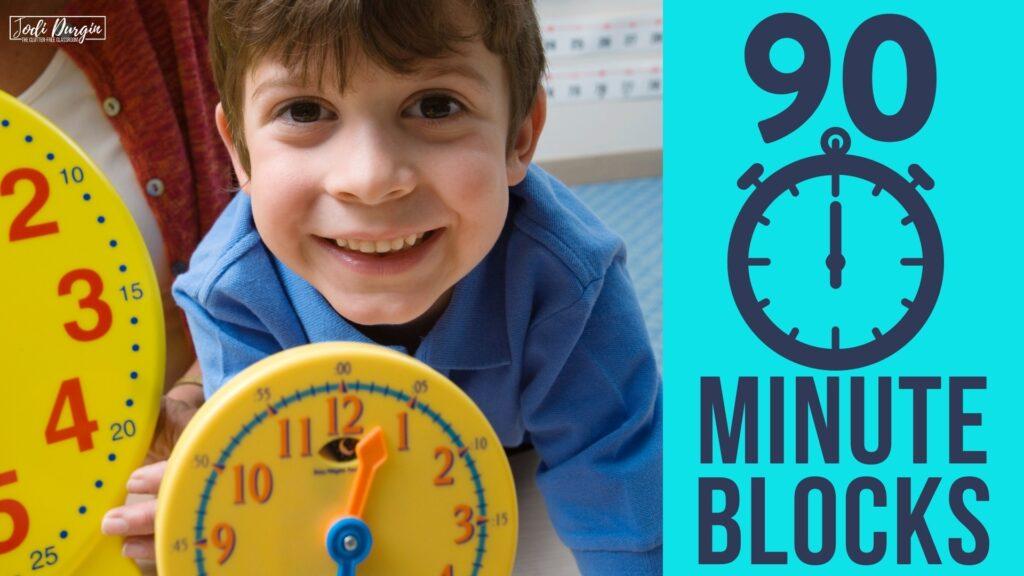 1st grader using clock for math workshop schedule