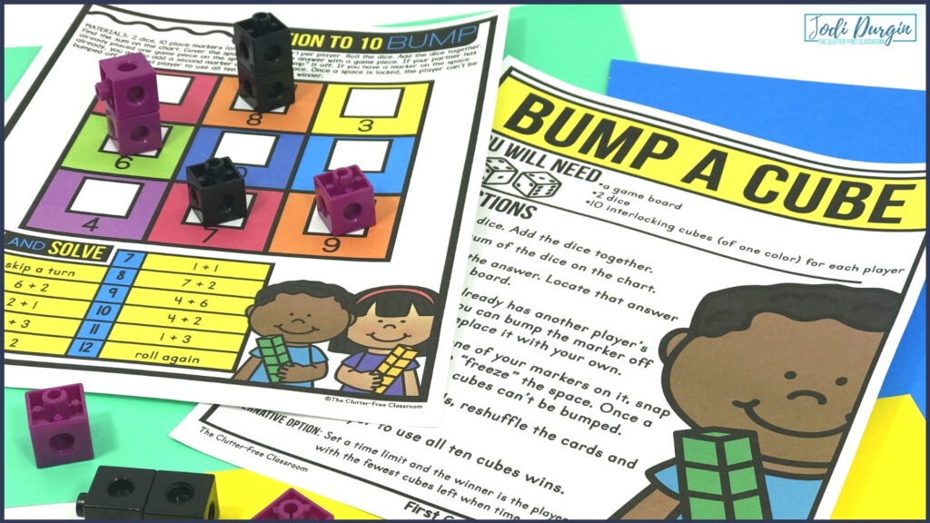 addition bump math center game with cubes