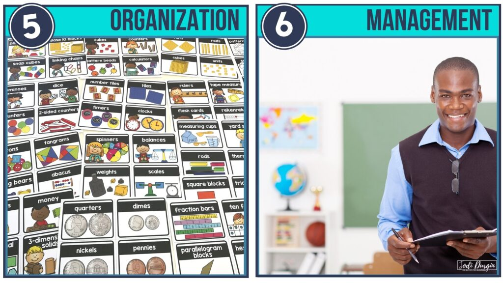 labels for organizing math manipulatives and an elementary teacher