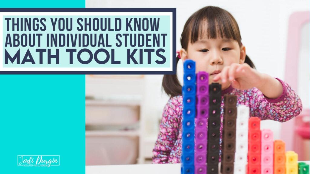 2nd grader using math tool kit