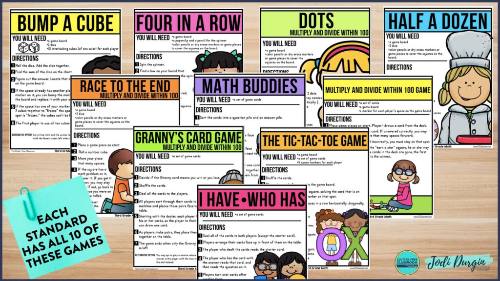 collection of printable math games for first, second and third grade