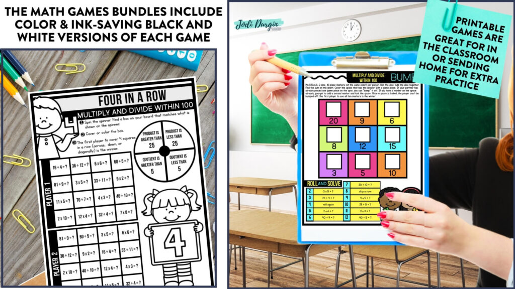 printable math center games on a desk and clipboard