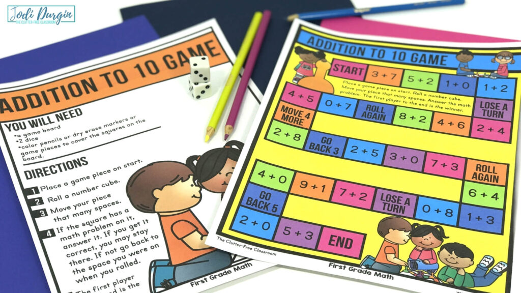 first grade printable math game with dice and pencils