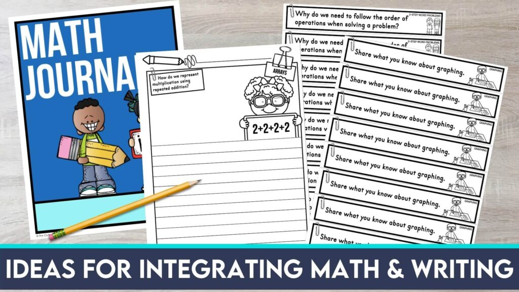 math journal prompts, printable worksheets and notebook cover