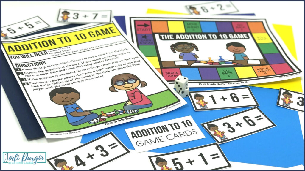 math center game for practicing addition facts