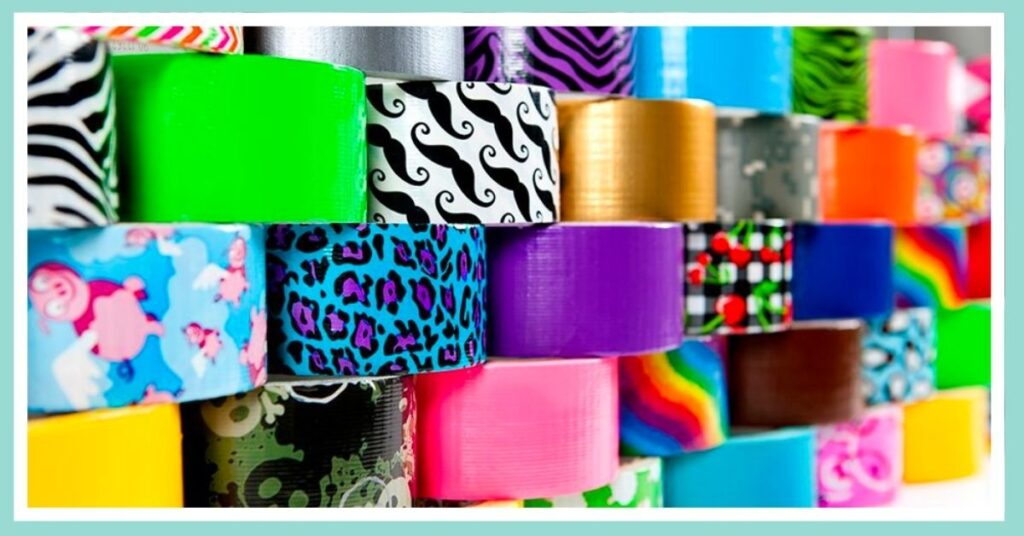 wall of colorful patterned duct tape