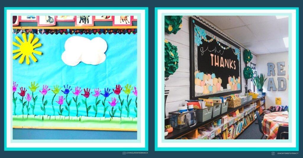 thanksgiving wall display and spring bulletin board