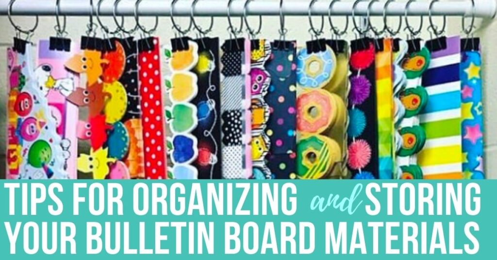 strips of classroom bulletin board boarder hanging on clips