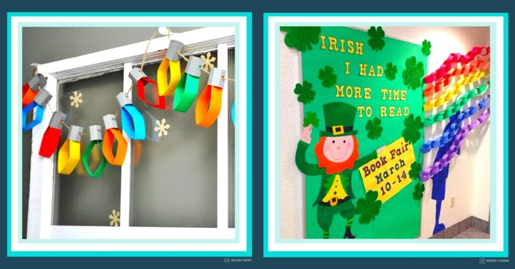 St. Patrick's Day hallway wall display and December classroom wall display