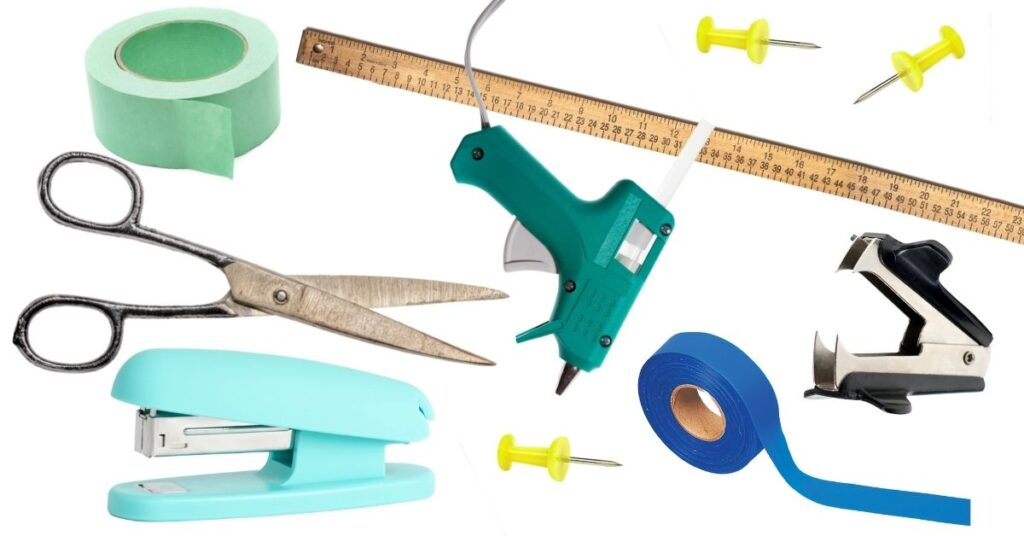 a collage of supplies you need to create bulletin boards like a stapler, scissors, tape, and ruler