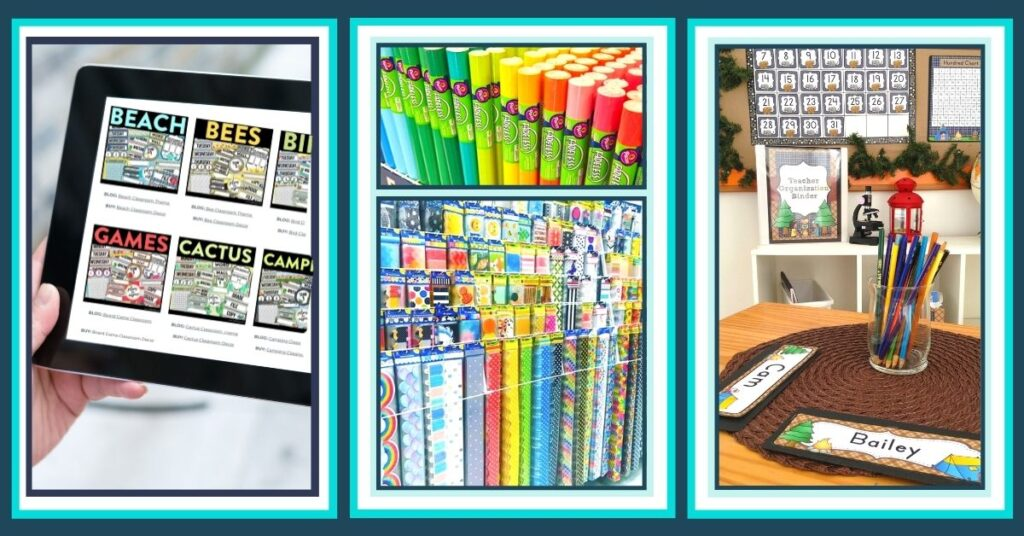 a collage of elementary classroom decor resources
