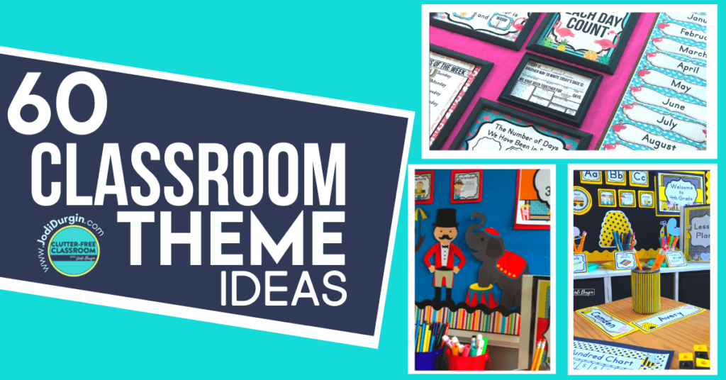 a collage of classroom theme ideas including circus, flamingo and bee