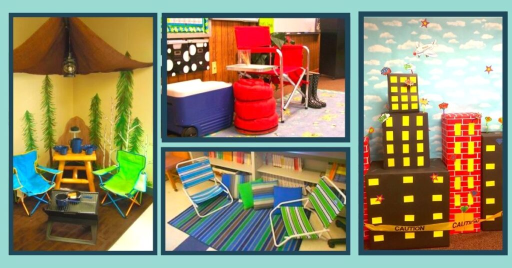 a collage of classroom theme decor for a camping, beach, and superhero theme