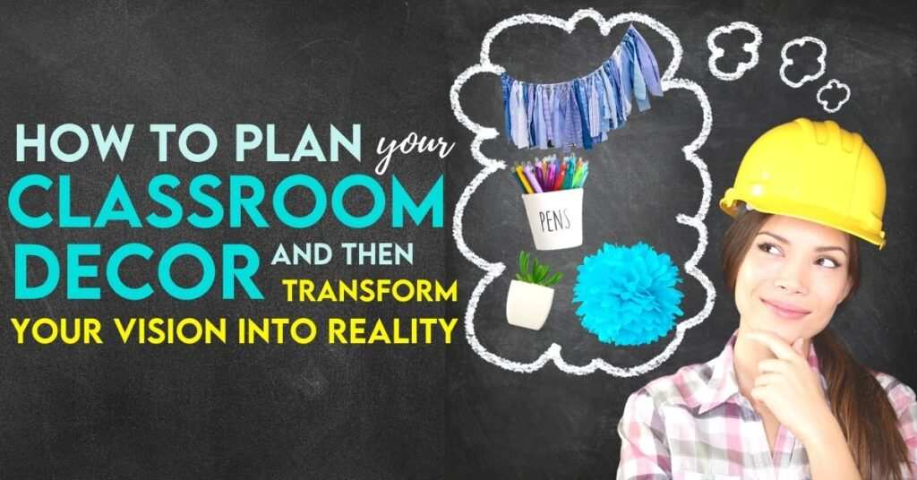 female teacher thinking about classroom decoration items like a pen cup holder and potted plant