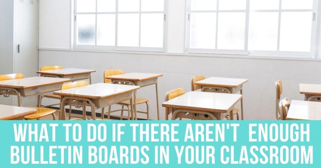 student desks near the windows in a classroom