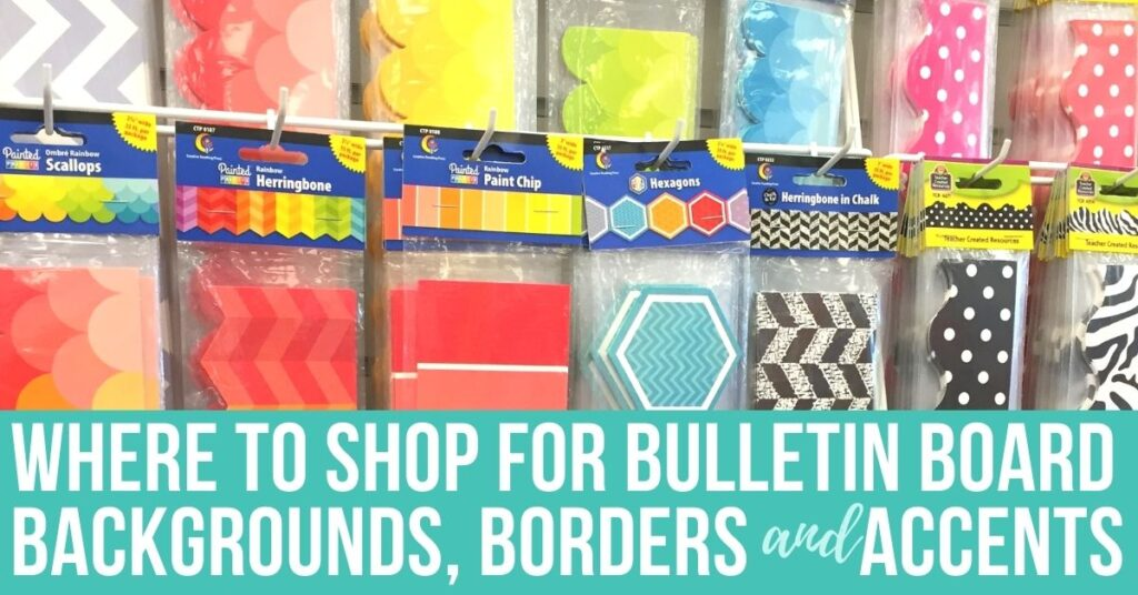 a variety of classroom bulletin board trim hanging on a sales rack
