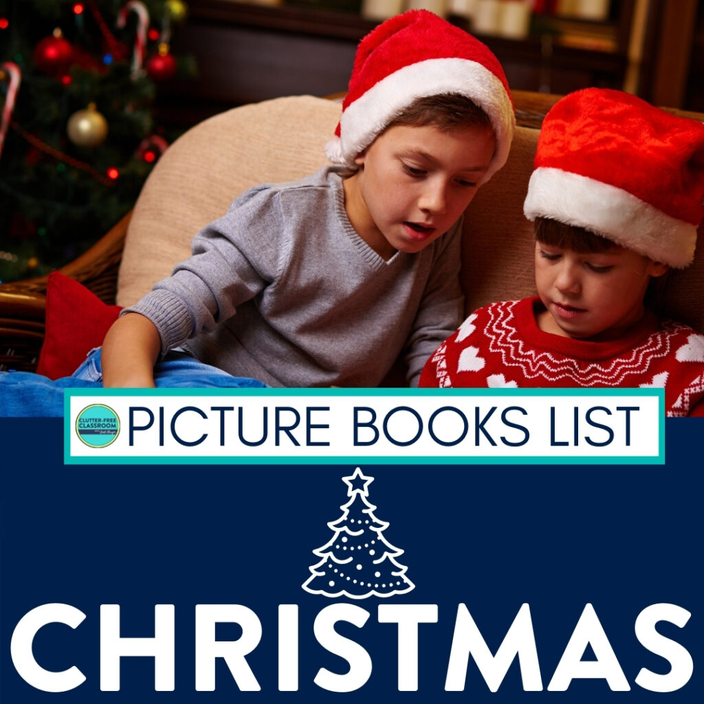 two kids reading a Christmas picture book