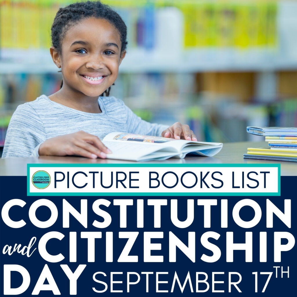 Girl smiling and reading a book about the Constitution
