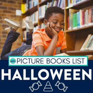student reading a Halloween picture book