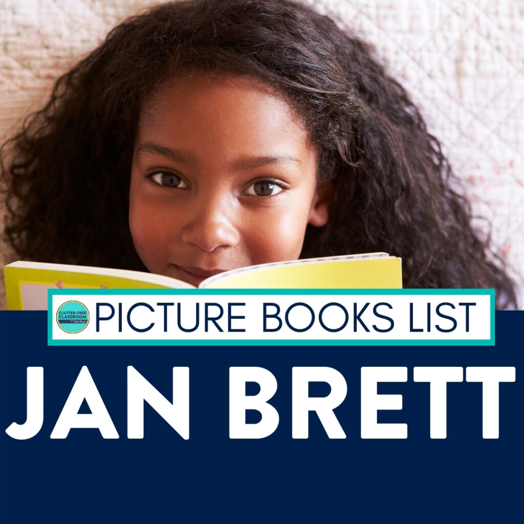 girl reading a Jan Brett book