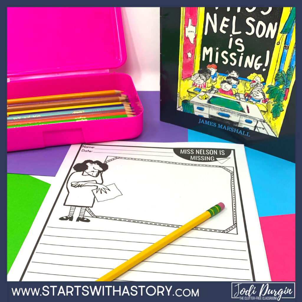 Miss Nelson is Missing book cover and writing paper