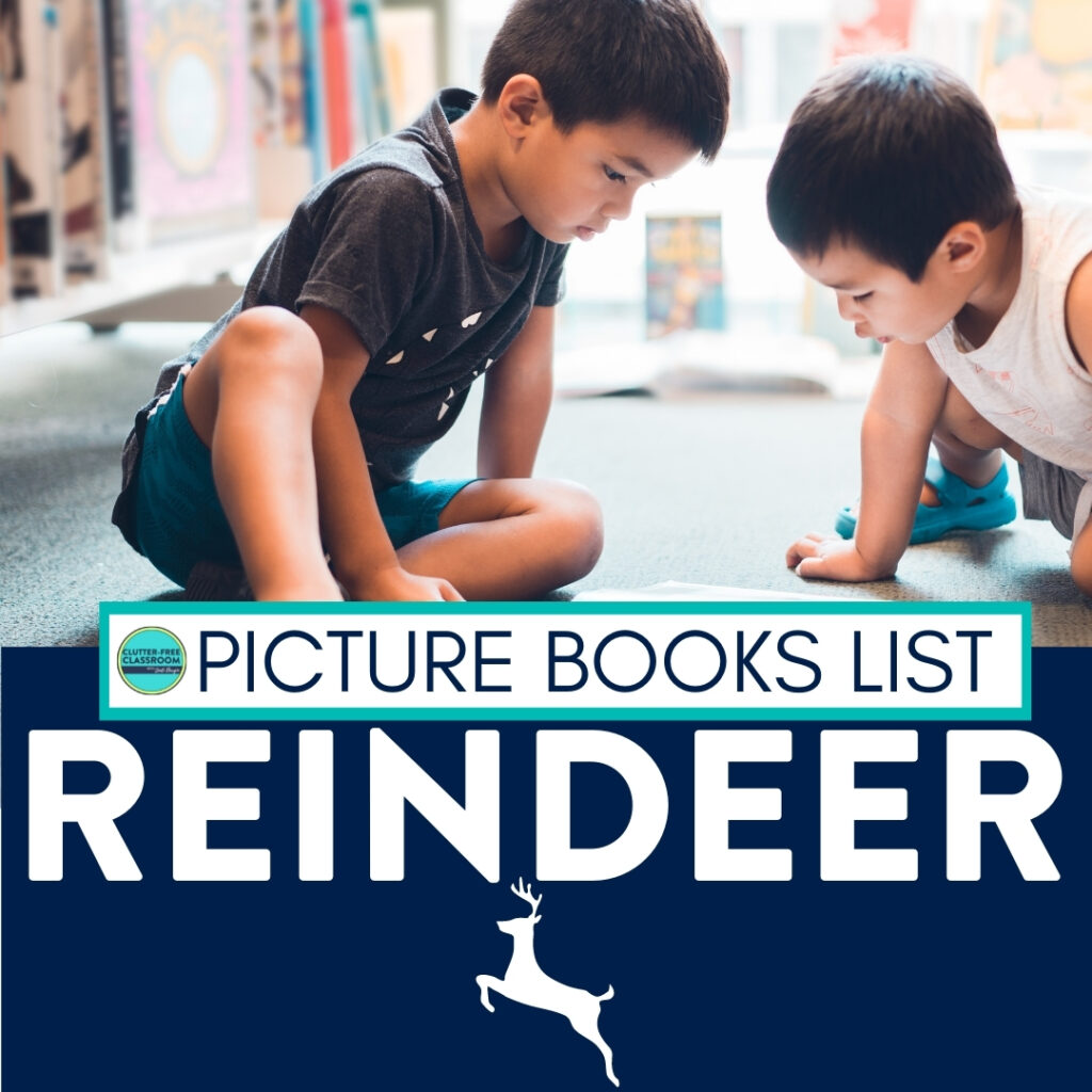 Kids reading books about reindeer