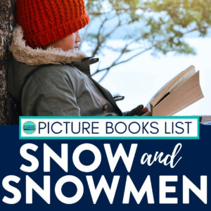 student reading a book about snow