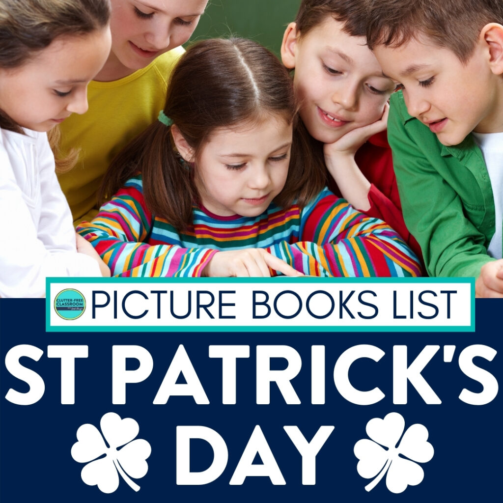 Students reading a St. Patrick's Day book
