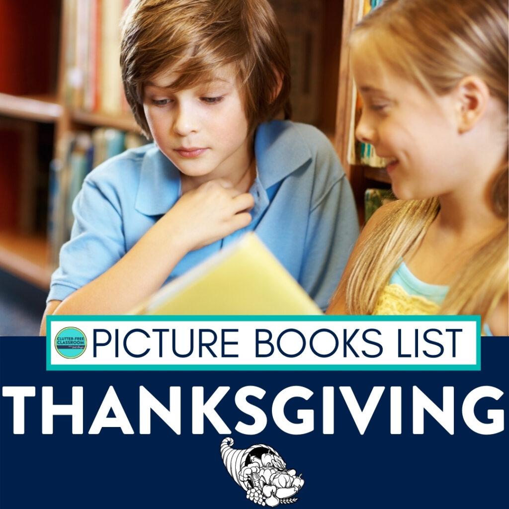 Kids reading Thanksgiving books