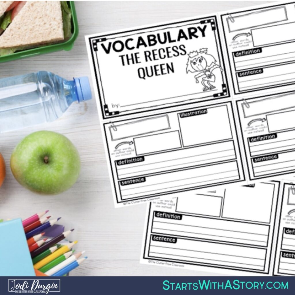 vocabulary booklet for The Recess Queen