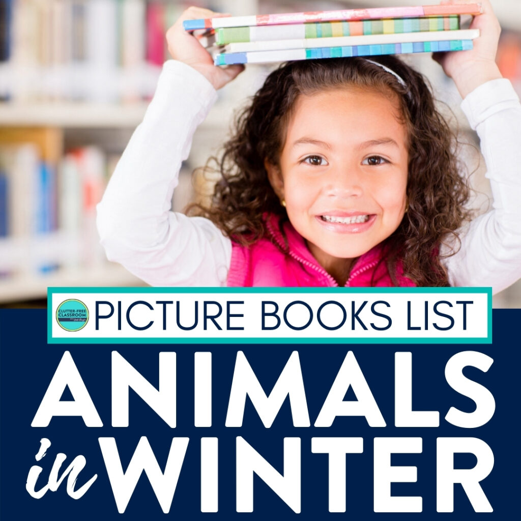 girl holding a book about winter animals