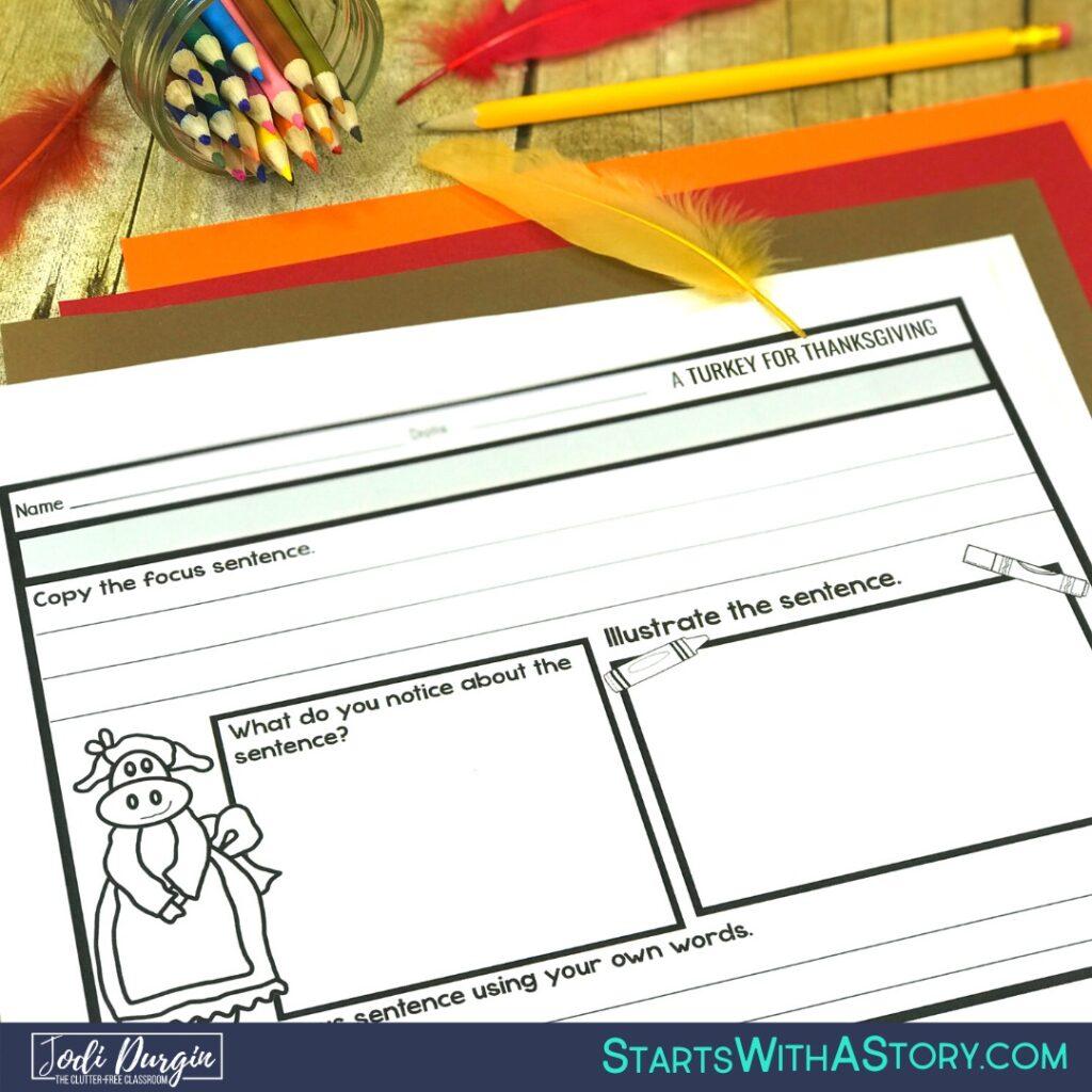 worksheet for A Turkey for Thanksgiving children's book