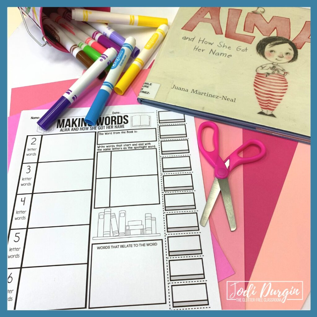 activity based on the book Alma and How She Got Her Name