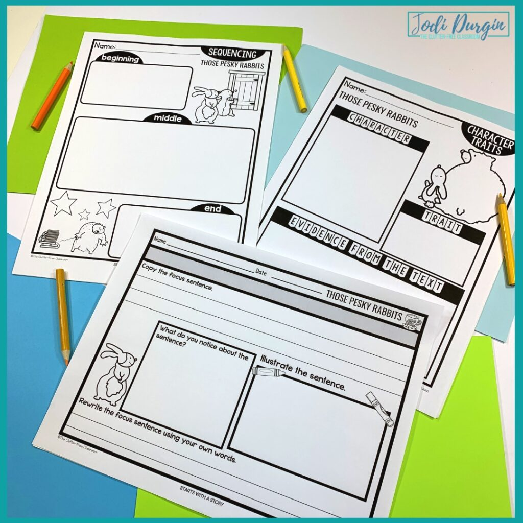 three worksheets based on the book, Those Pesky Rabbits