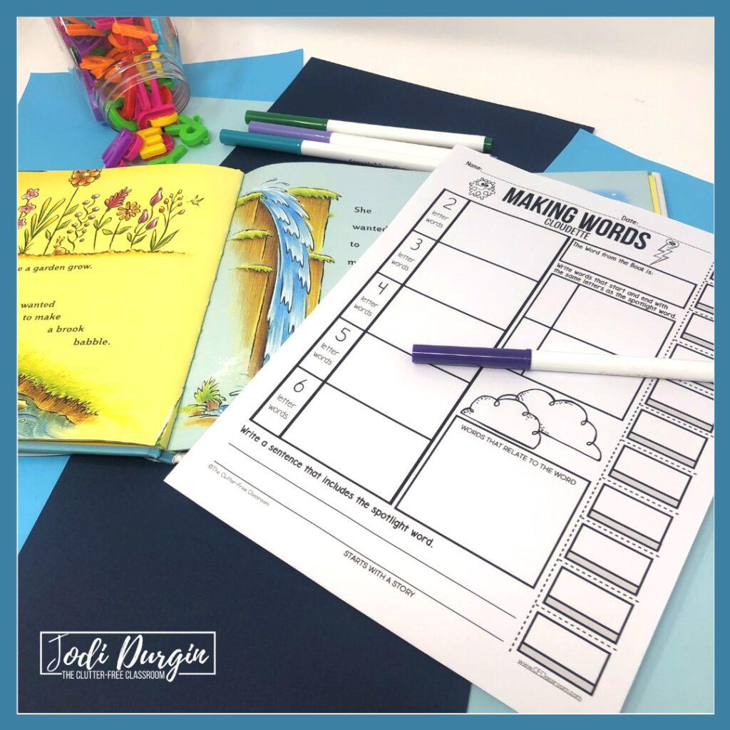 worksheet based on the book, Cloudette