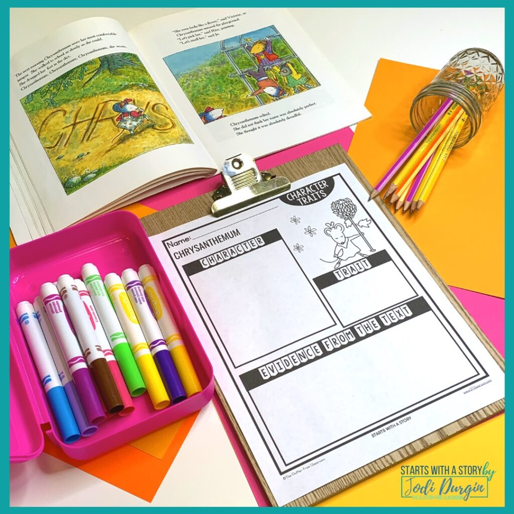 character traits worksheet based on the book, Chrysanthemum