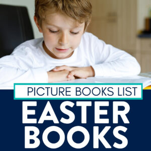 boy reading a book about Easter