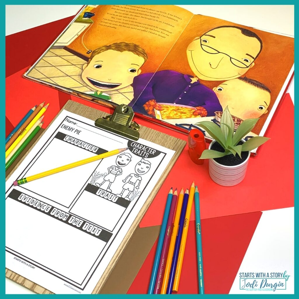 character traits worksheet for the book, Enemy Pie