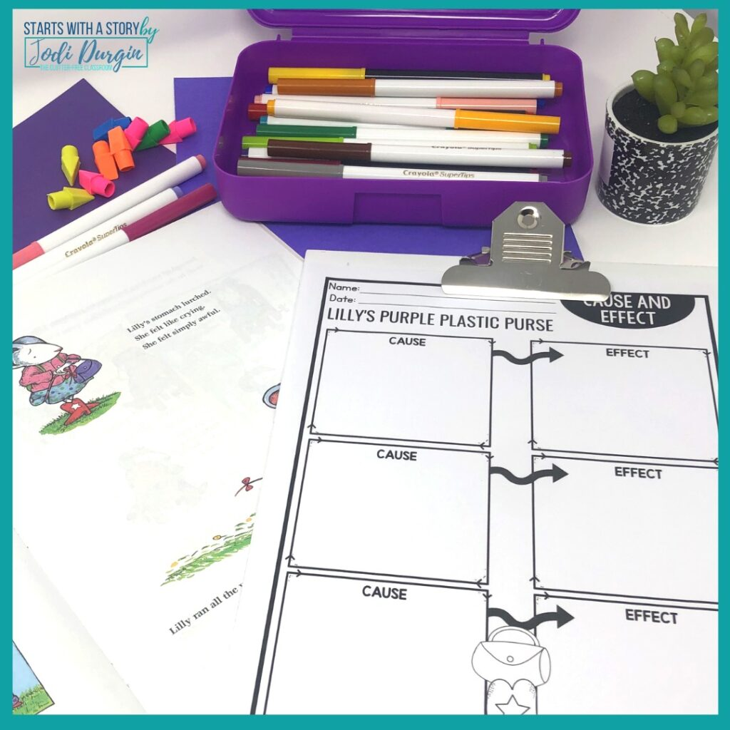 cause and effect worksheet based on the book, Lilly's Purple Plastic Purse