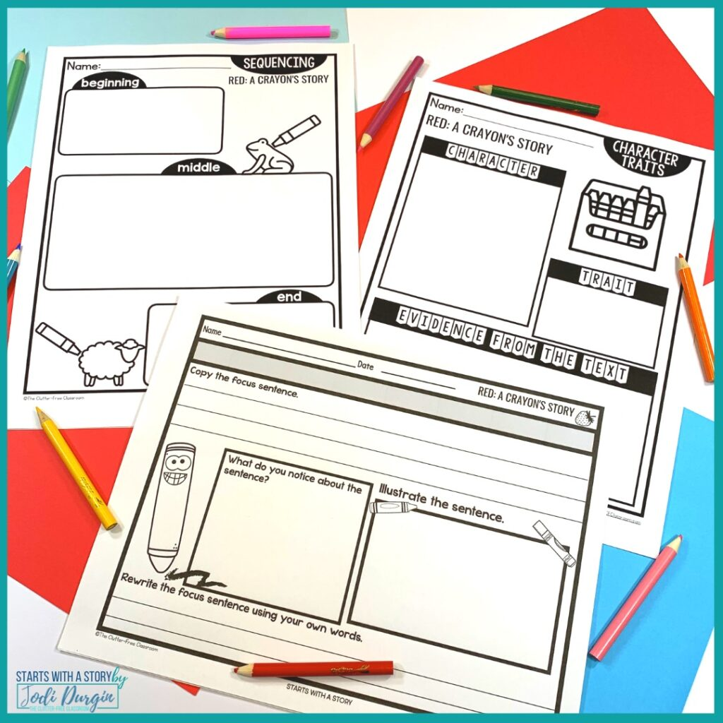 three worksheets based on the book, Red: A Crayon's Story