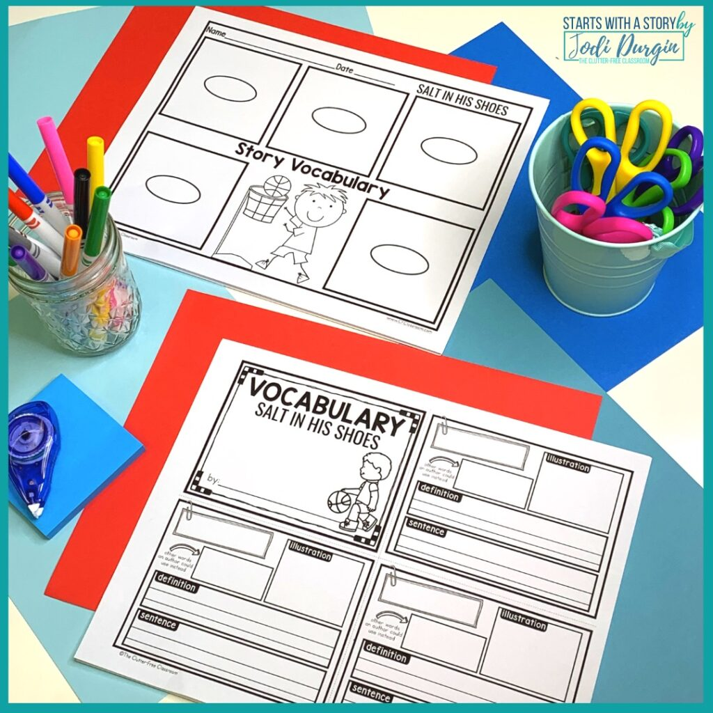 two vocabulary worksheets for the book, Salt in his Shoes