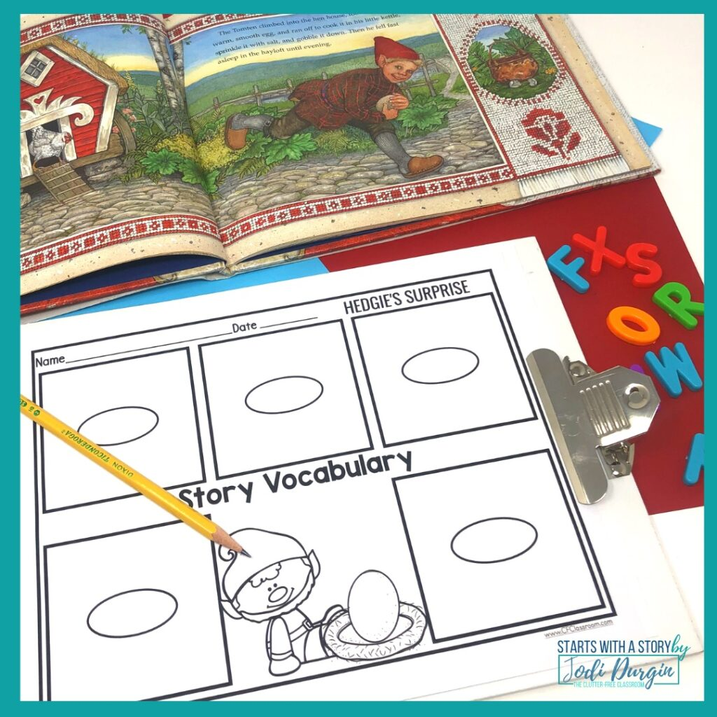 vocabulary worksheet based on the book, Hedgie's Surprise