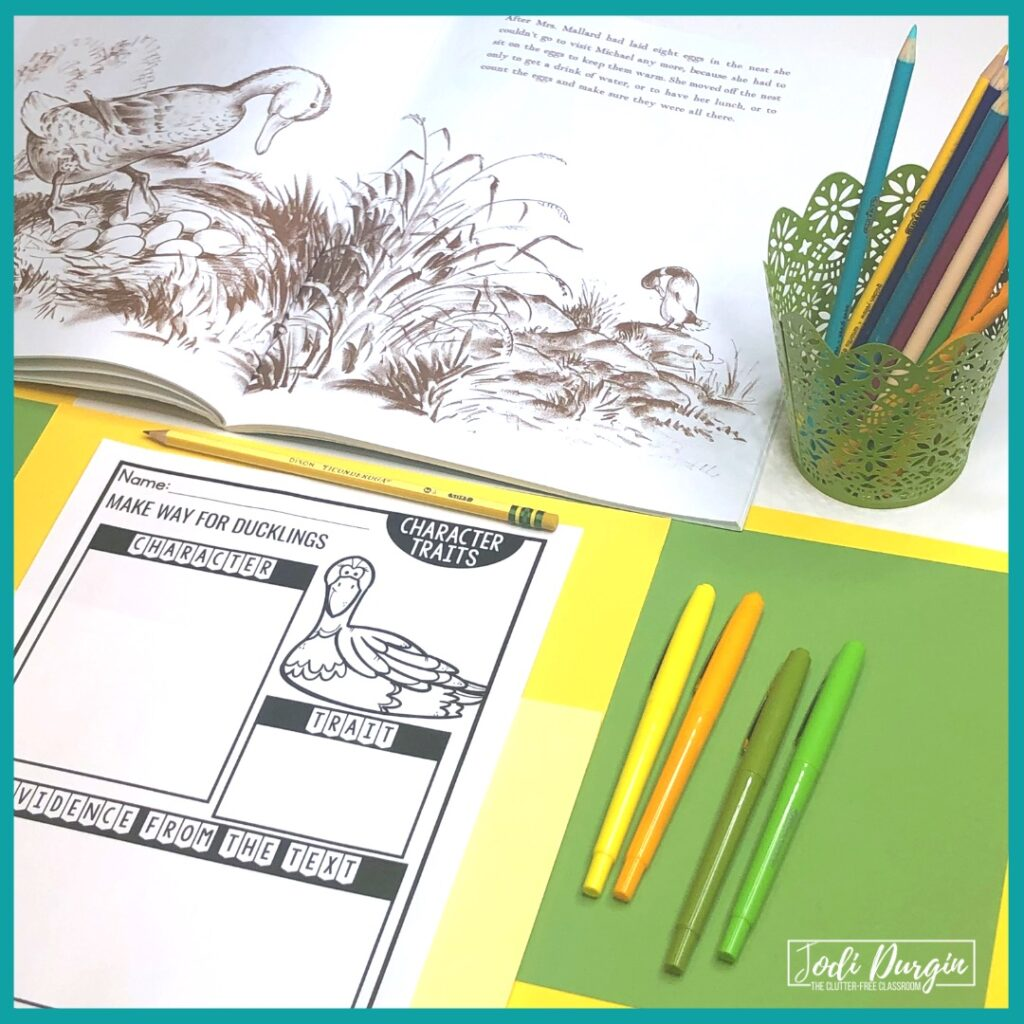 character traits activity based on the book, Make Way for Ducklings