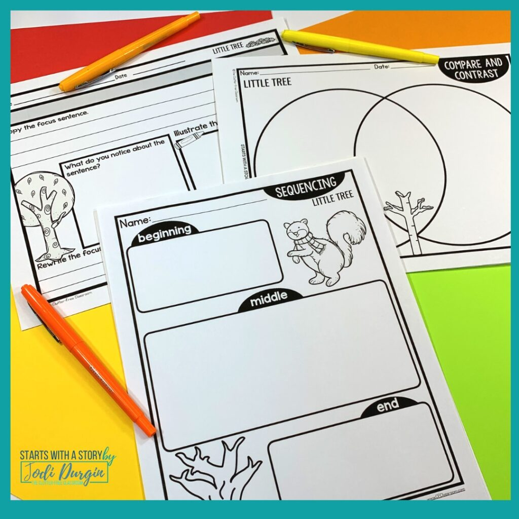 three worksheets based on the book, Little Tree